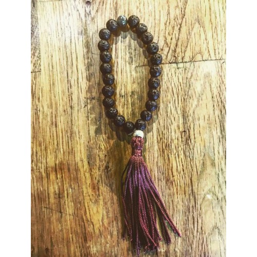 Malas budista 27 piedra de lava negra ॐ
